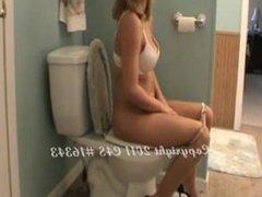 Brunette Pooping in Toilet