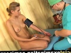 Blonde teen babe gets gyno examination