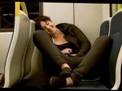 Amateur masturbating on train