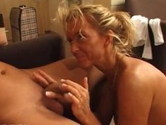 YouPorn - Mature blonde gets out of the shower to suck a young cock