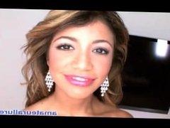 Petite Latina Milks Cum Shot Into Mouth