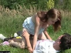 Busty teen Charlotte gets nailed outdoor