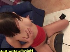 Brunette hairy pussy hoe rides sybian in hot solo in hi def