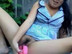 Asian Plays with Herself in Garden and Shower