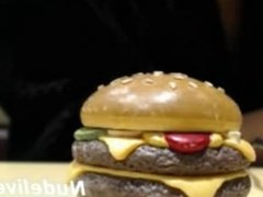 GIRL MASTURBATING AND SQUIRTING IN A McDONALD`S BOOTH
