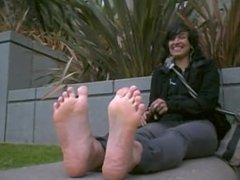 Cute Girl with Hot Stinky Feet Fresh out of Boots