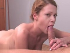Horny shaved pussy dick sucking