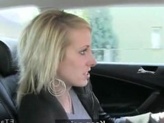 Blonde amateur pussy fucked in cab in th middle of the day