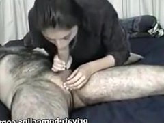 Hot Girl Gives Big White Dick Blowjob Mouth Cum