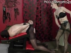 Mistress Riley fucks facesits and jerks male slave