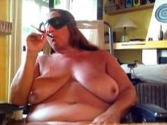 Subaugusta- Blindfolded with holder, and giving a bj