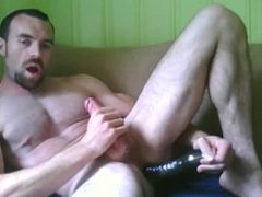 Jerking off with a dildo