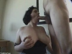 Chunky girl gives blow jobs and facial