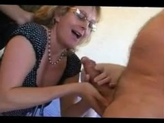 FRENCH MATURE blonde anal mom interracial gangbang