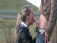 Roadside Slut sucking my cock for cash