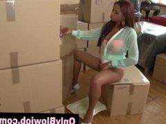Ebony slut swallows cum sucking cardboard box gloryhole dick