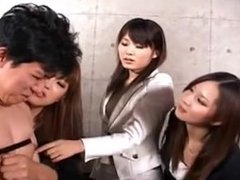 Japanese ladies fuck a submissed guy by a strap-on