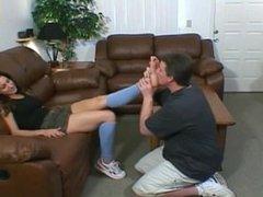 Worshiping Maya's feet
