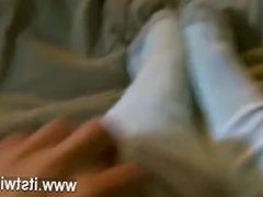 Hardcore gay He films his cute soles in a pair of elementary cotton socks