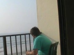 Me On The Balcony Of A Hotel In FL In A Diaper And Shirt