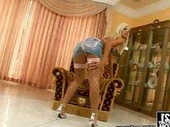 Delightful Blonde Jessy Wynn In Miniskirt Toys Her Juicy Pussy