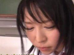Asian schoolgirl anal on floor and table