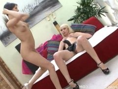 Petite brunette has her asshole fucked by a blonde beauty with a strapon