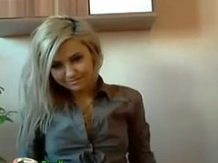 Blonde Shows Flashes On Webcam