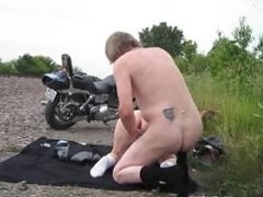 Naked guys after local moto show