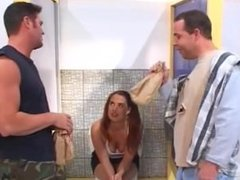 Young hooker gets double fucked in the toilet