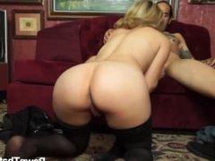 Sweet blonde teen girl seduces guy sloppy blowjob