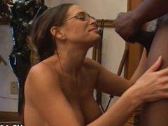 Experienced Cheyenne Hunter milks a BBC dry.