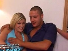 Two sexy party girl blondes with one guy