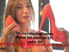 julie skyhigh: louboutin heelfucking in pussy & masturbation with lingerie