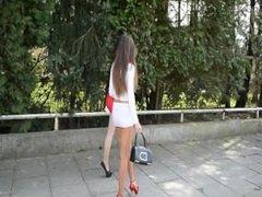 julie skyhigh: 2 Hookers Tight Spandex Skirts & Heels blowjob & cumshot