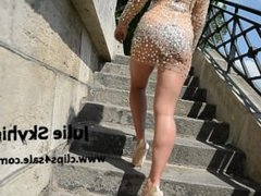 Julie skyhigh a Paris: nude under transparant dress in public in high heels