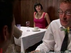 master lets his slut rub her pussy in restaurant and fucked by homeless