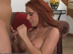 Redhead bigtits girl gives soft handjob