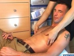 Fred a sexy bi sport guy gets wanked his huge cock by a gay guy !
