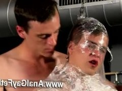 Gay orgy Cristian is almost swinging, wrapped up in cable and shackled to