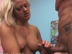 Bigtits blonde shows her experience in handjob