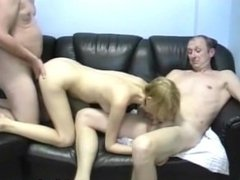 Girl fucked on a billiard table with two men