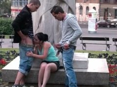 PUBLIC teens street sex GANGBANG by a famous statue PART 3