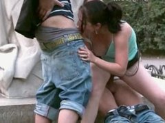 Street sex teens PUBLIC GANG BANG by a famous statue PART 5