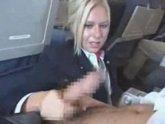 stewardess sucks and jerks off passenger