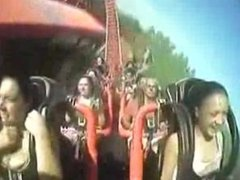tittty popping out on rollercoaster
