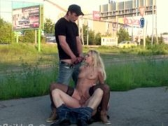 Pretty blonde street PUBLIC group SEX gangbang orgy Part 3