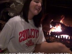 Sexy Teen Using Glass Dildo Next to Parents Fireplace