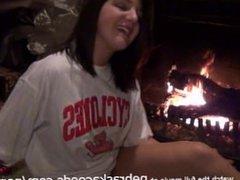 Sexy Teen Using Glass Dildo Next to Parents Fireplace