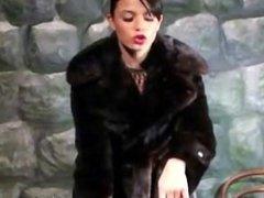 Sexy Sasha loves her fur coats
